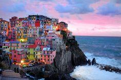Cinque Terre photograph, Manarola photo, Italy, Italian, sunset, coast, ocean, Mediterranean, colorful village, breaking waves