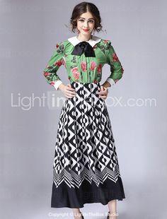 Set Jupe Costumes Femme,Géométrique Décontracté / Quotidien Vintage Hiver Manches Longues Col de Chemise Vert Coton / Polyester Moyen de 5444847 2017 à €64.67