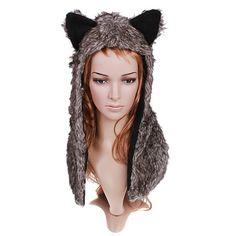 Grey Plush Wolf Hat Short