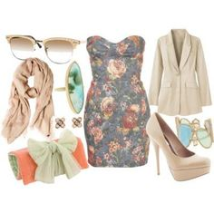 Dress and ring and bangle cuff and earrings and scarf and clutch and high heels