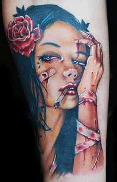 pin up girl tattoos | ... Tattoo Gathering : Tattoos : Pin Up : Viveros Pinup Girl Color Tattoo