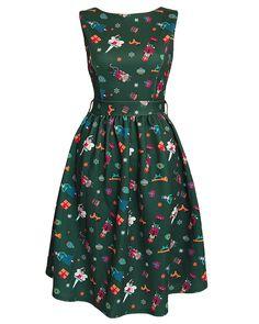 'Audrey' Nutcracker Print Christmas Dress
