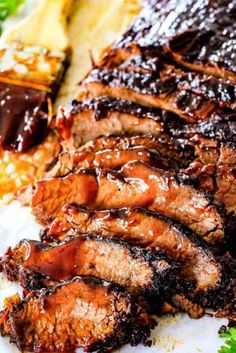"""Slow Cooker Beef Brisket with Barbecue Sauce (Video!) - Wonderfully juicy, flavor exploding, melt-in-your-mouth Slow Cooker Beef Brisket is """"better than - Crock Pot Recipes, Slow Cooker Recipes, Cooking Recipes, Beef Brisket Recipes Crockpot, Crock Pot Brisket, Pork Recipes, Best Brisket Recipe, Game Recipes, Spinach Recipes"""
