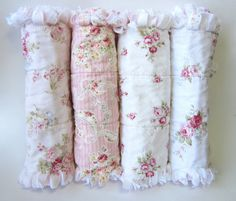This beautiful set of four shabby cottage rose rag quilted, flannel-backed burp cloths is extra soft and absorbent. Each burp cloth measures