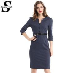 9b5999e2dc9 SunyYeah Women Autumn Dress Winter Elegant Solid Silm Sexy Dress Tunic Work  Party Business Bodycon Sheath Pencil Office Dress-in Dresses from Women s  ...