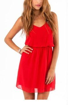 Vestido gasa con tirante-rojo