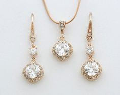 Bridal Jewelry Set, Rose Gold Cushion Cut Cubic Zirconia Earring and Necklace Set, Rose Gold Wedding Jewelry Set, Crystal Bridal Set
