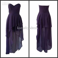 Wholesale Top Selling Sweetheart High Low A-line Chiffon Purple Evening Prom Bridesmaid Dresses Gowns, $59.95-70.8/Piece | DHgate