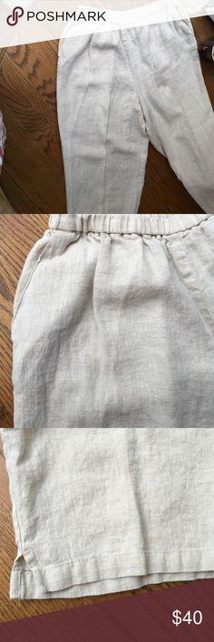 T Garmen washable linen capris T Garmen washable linen capris. Featuring elastic pole on Waze, two pockets front and side slits at the bottom. Like new condition T Garmen Pants Capris
