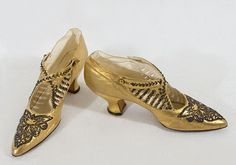 Beaded gold kid evening shoes by The White House, San Francisco, 1923.
