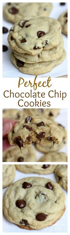 Chocolate Chip Cookies Perfect Chocolate Chip Cookies--soft and chewy, these are the BEST chocolate chip cookies! Recipe on Perfect Chocolate Chip Cookies--soft and chewy, these are the BEST chocolate chip cookies! Recipe on Perfect Chocolate Chip Cookies, Cookies Soft, Cookies Et Biscuits, Yummy Cookies, Best Chocolate Chip Cookies Recipe, Baking Recipes, Cookie Recipes, Dessert Recipes, Chocalte Chip Cookie Recipe