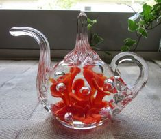 Maude and Bob St. Glass Teapot, Orange Flowers, Paper Weights, Tea Pots, Bubbles, Bob, Tableware, Rings, Vintage