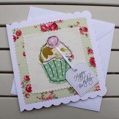 Cupcake Birthday Card in Green- Handmade Original Textile Card - Machine Embroidered - Happy Birthday - Personalised Insert