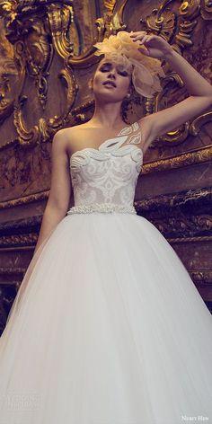 nurit hen 2016 bridal one shoulder sweetheart embellished neckline illusion strap ball gown wedding dress (05) romantic mv