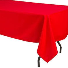 This Red Rectangular Polyester Tablecloth is made of durable, woven polyester and is designed to be wrinkle and stain resistant. It is 60 inches x 126 inches.