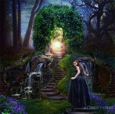 Spring landscape by IgnisFatuusII on DeviantArt Wiccan Quotes, My Fantasy World, Spring Landscape, Beautiful Fantasy Art, Photoshop, Forest Fairy, Fairy Art, Moon Art, Another World