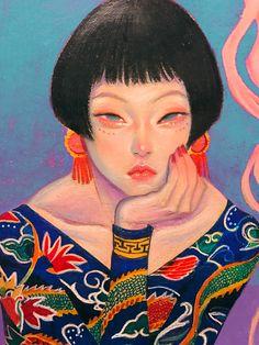Potrait Drawing Glittery hair Oriental Pin Up Girl by Zipcy - Pretty Art, Cute Art, Art Sketches, Art Drawings, Kritzelei Tattoo, Arte Fashion, Art Plastique, Portrait Art, Woman Portrait