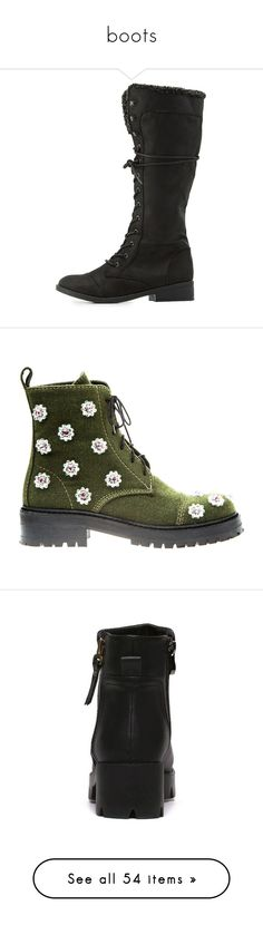 """""""boots"""" by abbycollections ❤ liked on Polyvore featuring shoes, boots, black, knee high military boots, army boots, combat booties, black combat boots, knee high lace up boots, ankle booties and green"""