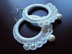 Items similar to White Bridal Earrings Mothers Day Gift under 20 under 25 on Etsy – chic handmade accessories – Jewelry Tatting Earrings, Tatting Jewelry, Bridal Earrings, Beaded Earrings, Earrings Handmade, Beaded Jewelry, Handmade Jewelry, Crochet Earrings Pattern, Bead Crochet