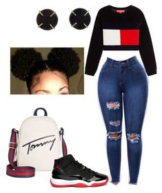 How to wear Jordans ❤️ #TommyHilfiger by suvareajefferson on Polyvore featuring Hilfiger Collection, Tommy Hilfiger and Melissa Joy Manning
