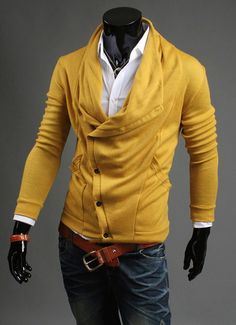 Mens Casual Slim Fit Top Designed Fashion Coat Cardigan Sweater Jumpers 4Colors on Etsy, $38.00 CAD