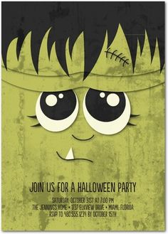 We're in love with this creative green Frankenstein Halloween party invitation. Throw a monster Halloween party that will leave your guests talking!