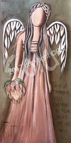 We have a loving GOD who cares for us. List Of Paintings, Original Paintings, Angel Paintings, Rock Kunst, Angels Beauty, South African Art, Fairy Crafts, Angel Pictures, Angel Art
