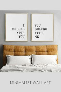 Minimal wall art print   I belong with you, you belong with me   minimalist home decor   black and white bedroom   couples bedroom poster   typography quote art   matching art for above the bed   wedding gift idea   #affiliate #minimalism