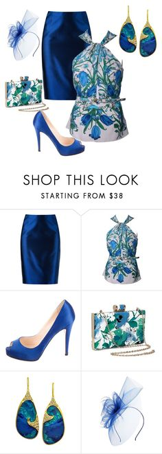 """""""BLUE LADY"""" by greenacres1124 on Polyvore featuring Martha Medeiros, Gucci, Christian Louboutin and Lauren Harper Collection"""