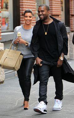 Kanye West & Kim Kardashian Have Ice Cream in Public