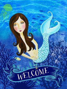 Welcome Mermaid Flag Canvas House Size #mermaid #ocean #flag #blue