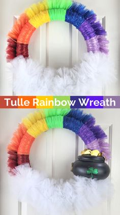 How to make a spring tulle rainbow wreath. It can convert into a St. Patrick's Day wreath with a removeable pot of gold. #wreath #rainbowwreath #tullewreath #stpatricksday #stpatricksdaywreath Tulle Wreath, Diy Wreath, Gold Wreath, Wreaths, Wreath Ideas, Crafts To Make, Fun Crafts, Amazing Crafts, Creative Crafts