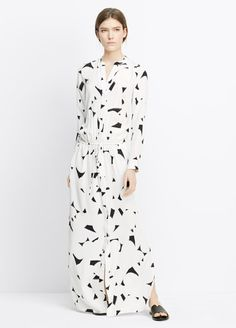 Geo Brush Stroke Print Silk Maxi Dress