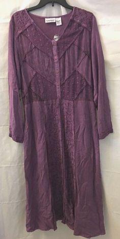 Serengeti Catalog Purple Embroidered Long Sleeve Maxi Dress Size L Rayon New #SerengetiCatalog #MaxiDress #AnyOccasion