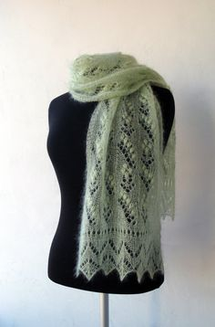 Hand knitted light green luxury kidsilk lace scarf by LaceForYou, $61.00
