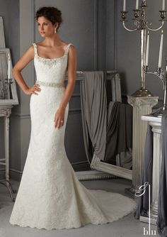bridal dress from Blu by Mori Lee Dress Style 5274 Crystal Beading on a Duchess Satin Wedding Gown