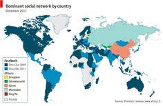 Dominant social networks across the world