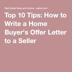 how to write a letter of offer on a house