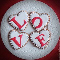 """Купить """"Love"""" набор пряников - козуль - ярко-красный, белый, love, сердечки, валентинки, набор"""