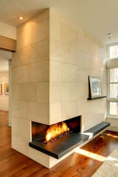 Warm and inviting corner #fireplace #design.