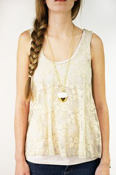 Gold Dipped Pebble Necklace | Love this bold piece by porcelain and stone!