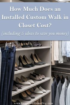 How much does an installed custom walk in closet cost| Innovate Home Org Master Closet Design, Custom Closet Design, Walk In Closet Design, Master Bedroom Closet, Closet Designs, Bedroom Closets, Master Bathroom, Bedrooms, Closet Renovation