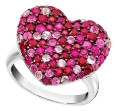 Effy Balissima by EFFY Pink Sapphire + Ruby Heart Ring Sterling Silver Size 7