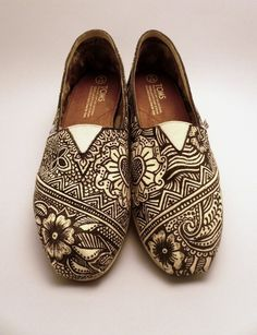 Handmade Style Christine Marie by ShersShoeBox on Etsy  Hand painted Toms canvas shoes