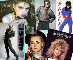80s Fashion Montage featuring Madonna, an 80s man, two girls in jumpsuits, Boy George and Bonnie Tyler's very 80s hair style