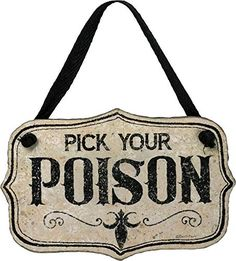 Primitives By Kathy Pick Your Poison Hanging Halloween Sign Ornament ~ Free Ship Whimsical Halloween, Halloween Scene, Halloween Themes, Fall Halloween, Halloween Decorations, Halloween Cakes, Halloween Party, Halloween Lanterns, Halloween Ornaments