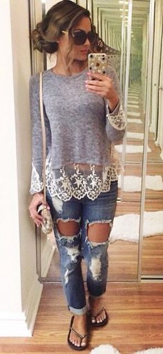 I don't usually like lace like this but I mainly like the long sleeve grey shirt with ripped jeans look!