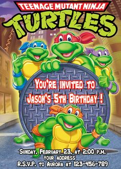 TMNT Birthday Invitation Ninja Turtles por SuperBirthdayParty, $9,99