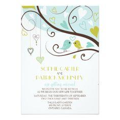 "Blue and Green Lovebirds Wedding Invitation 5"" X 7"" Invitation Card"