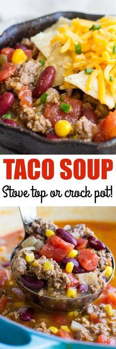 This easy Taco Soup recipe is a cinch to prepare! Make it on your stove top OR in a crock pot, either way it's always a crowd favorite!